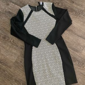 Black and White Long Sleeve Body-com Dress